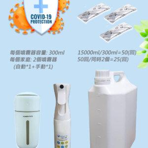 病毒抑制効果99.9%日本進口爆量KYOSEI-JIA微酸性次氯酸水生成劑3小包+1自動噴霧器+1手動噴霧器 (附5000ml泡製容器)