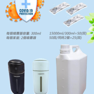 病毒抑制効果99.9%日本進口爆量KYOSEI-JIA微酸性次氯酸水生成劑3小包+2自動噴霧器 (附5000ml泡製容器)